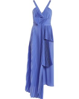 Draped-front Pleated Silk Crepe De Chine Dress