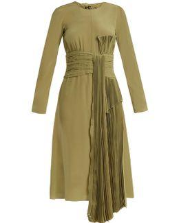 Pleated-drape Silk Crepe De Chine Dress