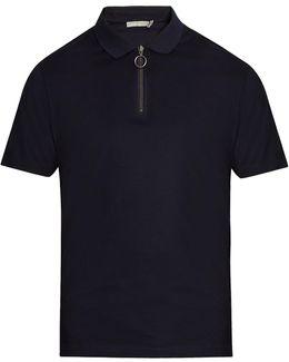 Zip-detail Cotton-piqué Polo-shirt
