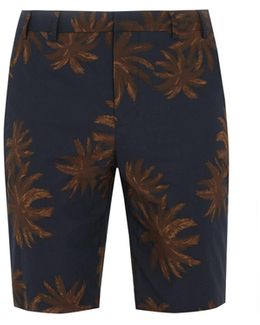 Leaf-print Cotton-poplin Shorts
