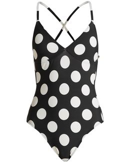 Slip Mio Polka-dot Print Swimsuit
