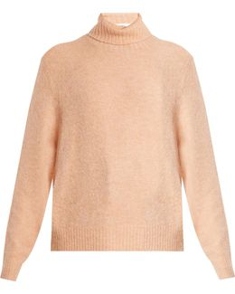 Roll-neck Brushed-knit Sweater