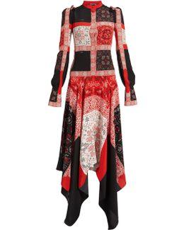 Cross Stitch-print Crepe De Chine Dress