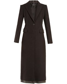 Single-breasted Leather Trim Cashmere Coat