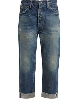 Wide-leg Low-rise Distressed Jeans