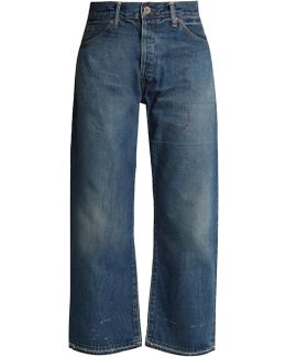 High-rise Relaxed-leg Distressed Jeans