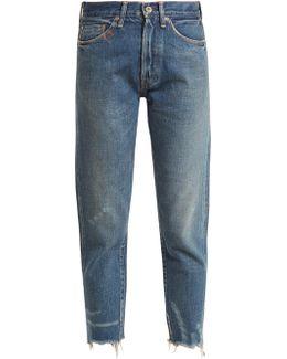 Mid-rise Frayed-hem Distressed Jeans
