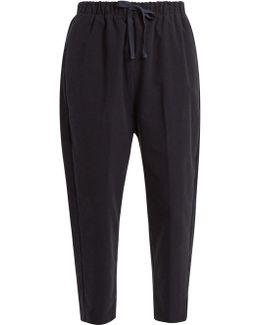 Relaxed-leg Cotton-blend Moleskin Trousers