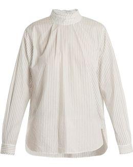 Striped High-neck Cotton Shirt
