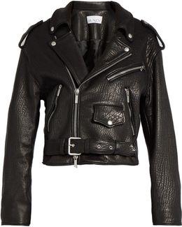 Oversized Tumbled-leather Biker Jacket