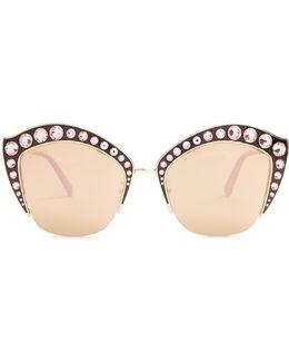 Cat-eye Embellished Metal Sunglasses