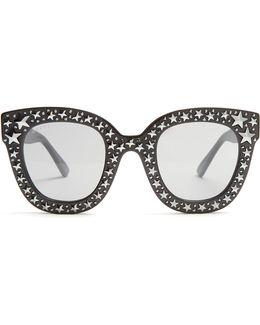 Oversized Embellished Acetate Sunglasses