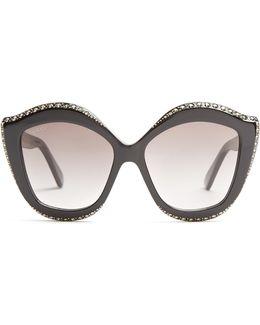 Embellished Cat-eye Acetate Sunglasses
