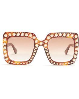 Oversized Embellished Square-frame Sunglasses