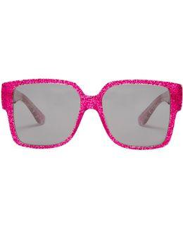 Rectangle-frame Glitter Sunglasses
