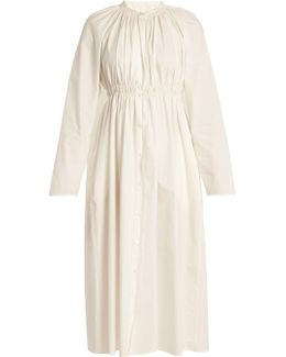 Gathered Cotton-poplin Dress