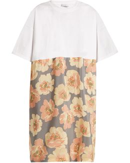 Cotton And Giant Floral-print Silk T-shirt Dress
