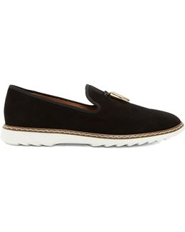 Stew Shark-tooth Brushed-leather Loafers