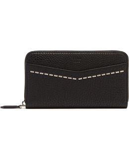Zip-around Saffiano Leather Wallet