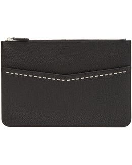 Stitch-embellished Grained-leather Pouch