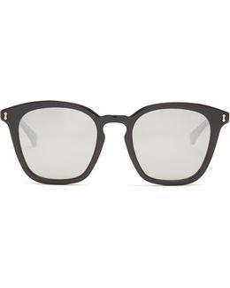 Square-frame Mirrored Acetate Sunglasses