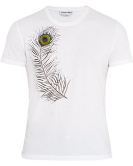 Peacock-feather Embroidered Cotton T-shirt