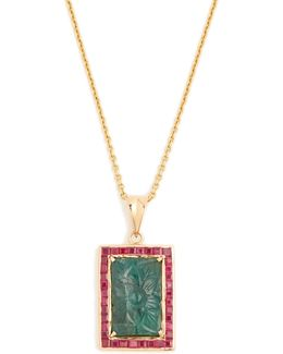 Emerald, Ruby & Yellow-gold Necklace