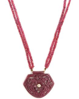 Diamond, Ruby & Yellow-gold Necklace