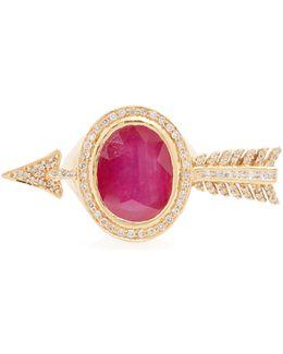 Diamond, Ruby & Yellow-gold Ring