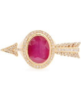 Diamond, Ruby & Yellow-gold Ring