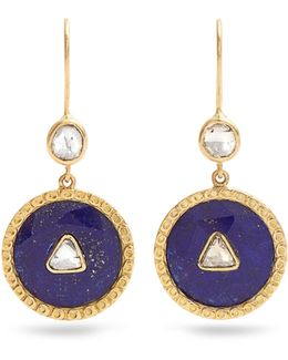 Diamond, Lapis & Yellow-gold Earrings