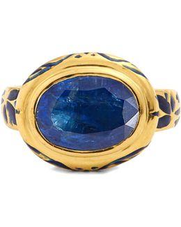 Kyanite, Enamel & Yellow-gold Ring