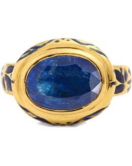 Kyanite, Enamel & Yellow-gold Ring