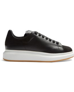 Raised-sole Low-top Suede And Leather Trainers