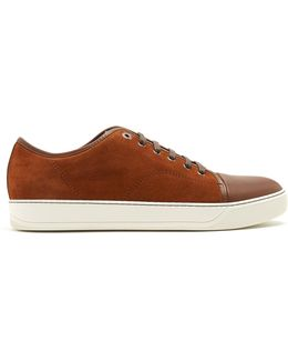 Low-top Suede And Leather Trainers