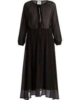 Wrap-skirt Stretch-tulle Midi Dress