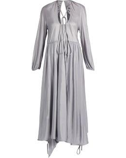 Wrap-skirt Satin-jersey Midi Dress