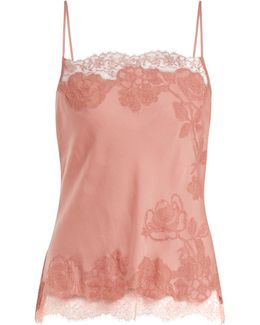 Lace-trimmed Silk-satin Cami Top