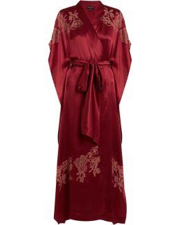 Lace-appliqué Silk-satin Kimono