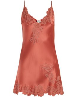 Lace-trimmed Silk-satin Slip