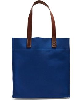 Leather-handle Linen-canvas Tote
