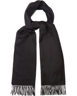 Logo-embroidered Cashmere Scarf