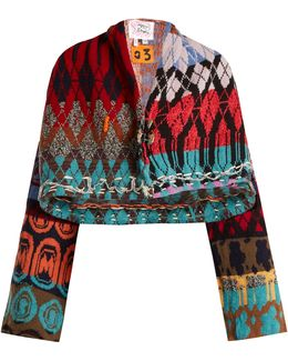 Patchwork-intarsia Cropped Cardigan