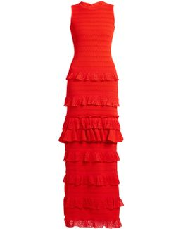 Ruffle-trimmed Tiered-knit Maxi Dress