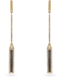 Diamond, Spectrolite & Yellow-gold Earrings