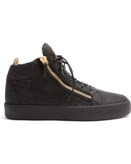 Kriss Mid-top Crocodile-effect Leather Trainers