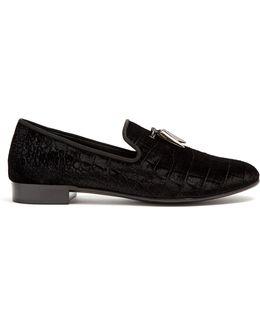 Spacey Crocodile-embossed Velvet Loafers