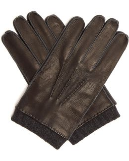 Contrast-cuff Leather Gloves