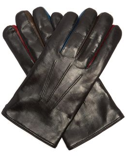 Contrast-concertina Leather Gloves