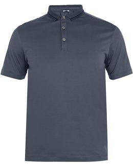 Striped-collar Cotton-jersey Polo Shirt